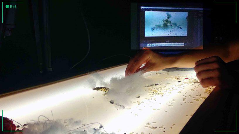 Ruka na animátorském stole